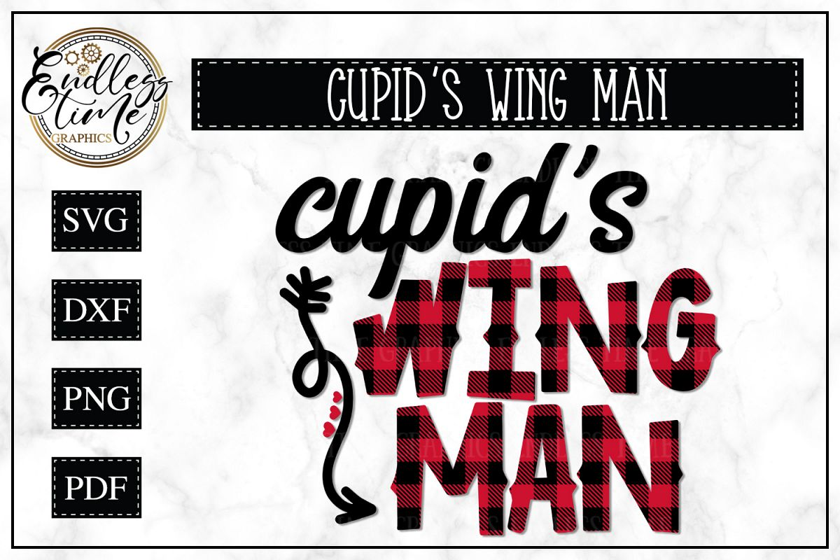 Cupid's Wing Man - A Buffalo Plaid Valentine's Day SVG example image 1