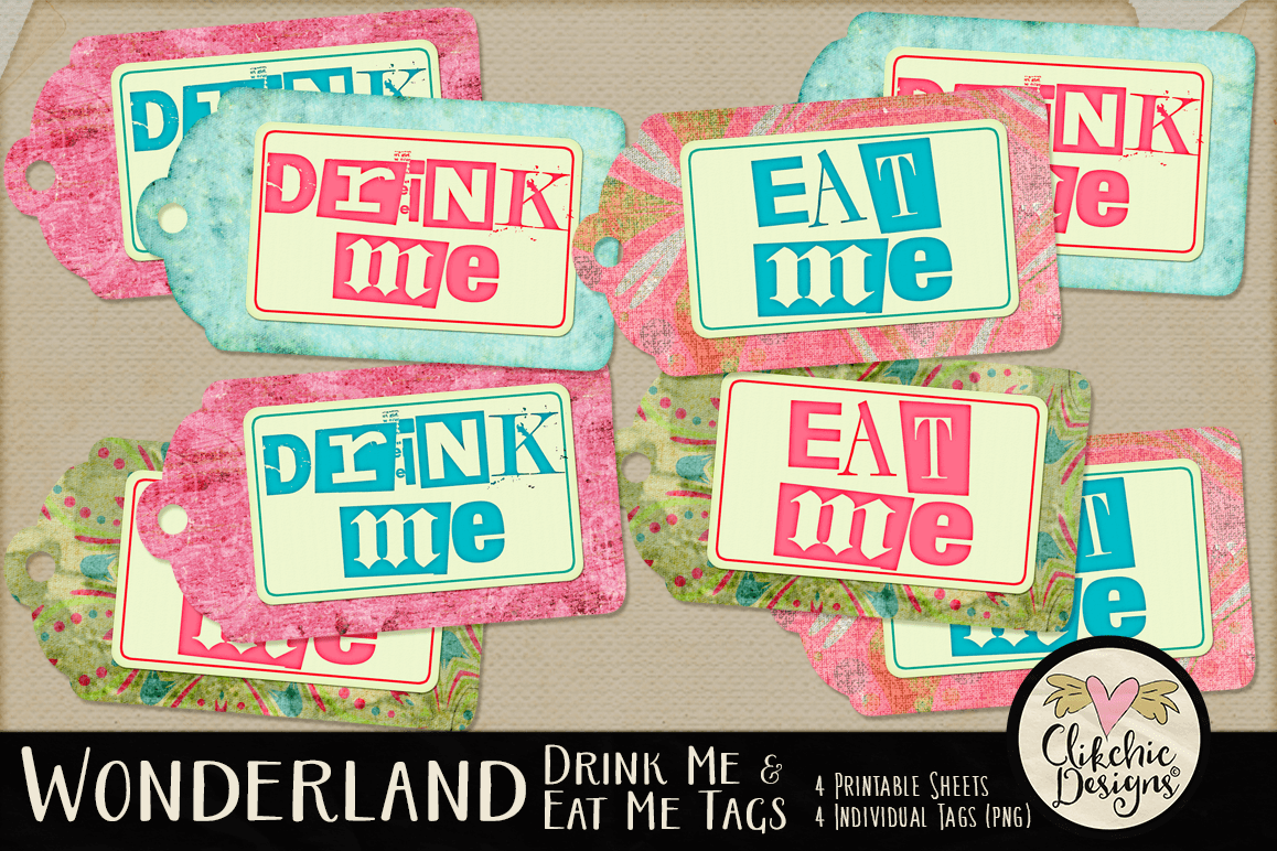 Wonderland Eat Me Drink Me Printable Tags example image 1