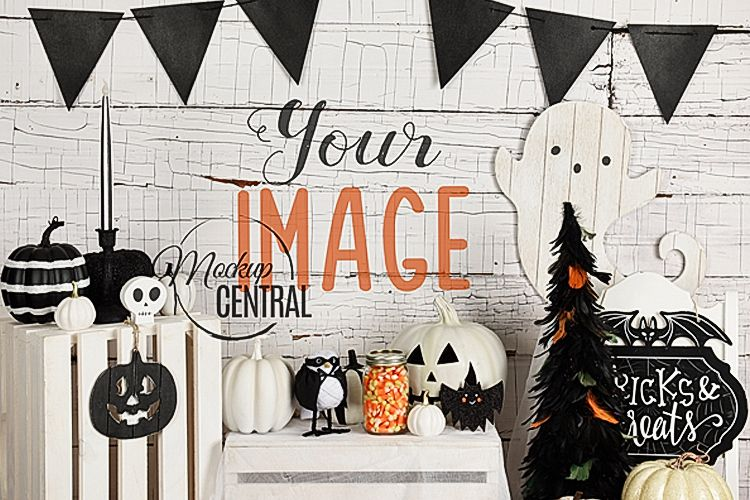 Halloween Wall Background Mock Up, JPG Mockup Photo example image 1