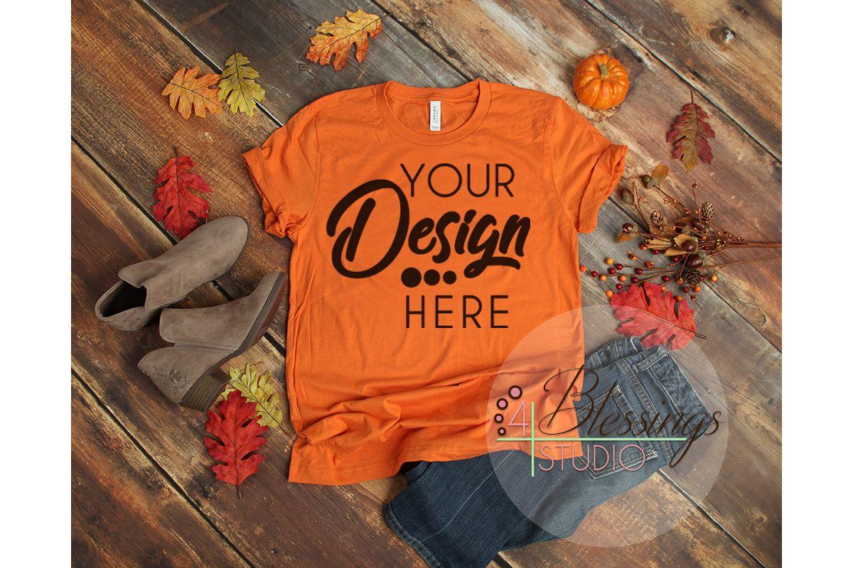 408ec36af0bd41 Fall Flat Lay Mock up Bella Canvas 3001 Burnt Orange T-Shirt example image 1