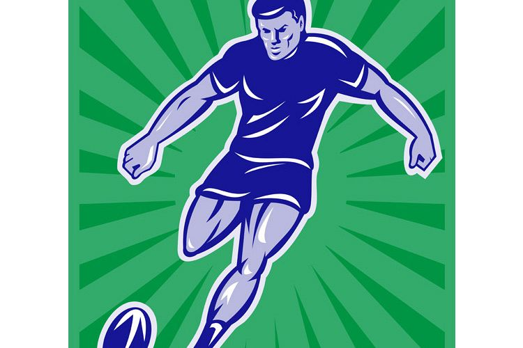 rugby player with ball kicking ball example image 1