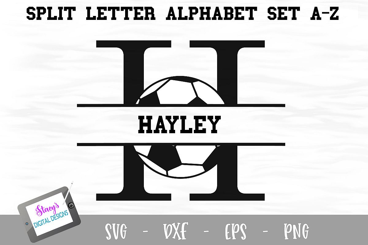 Split Letters A-Z - 26 Split Monogram soccer SVG alphabet example image 1