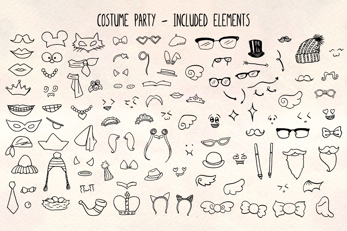 Costumes -103 Fun Dress Up Outfits Vector Bundle example image 1