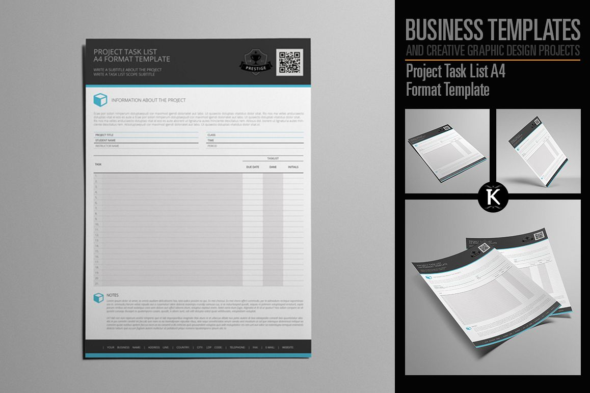 project task list a4 format template