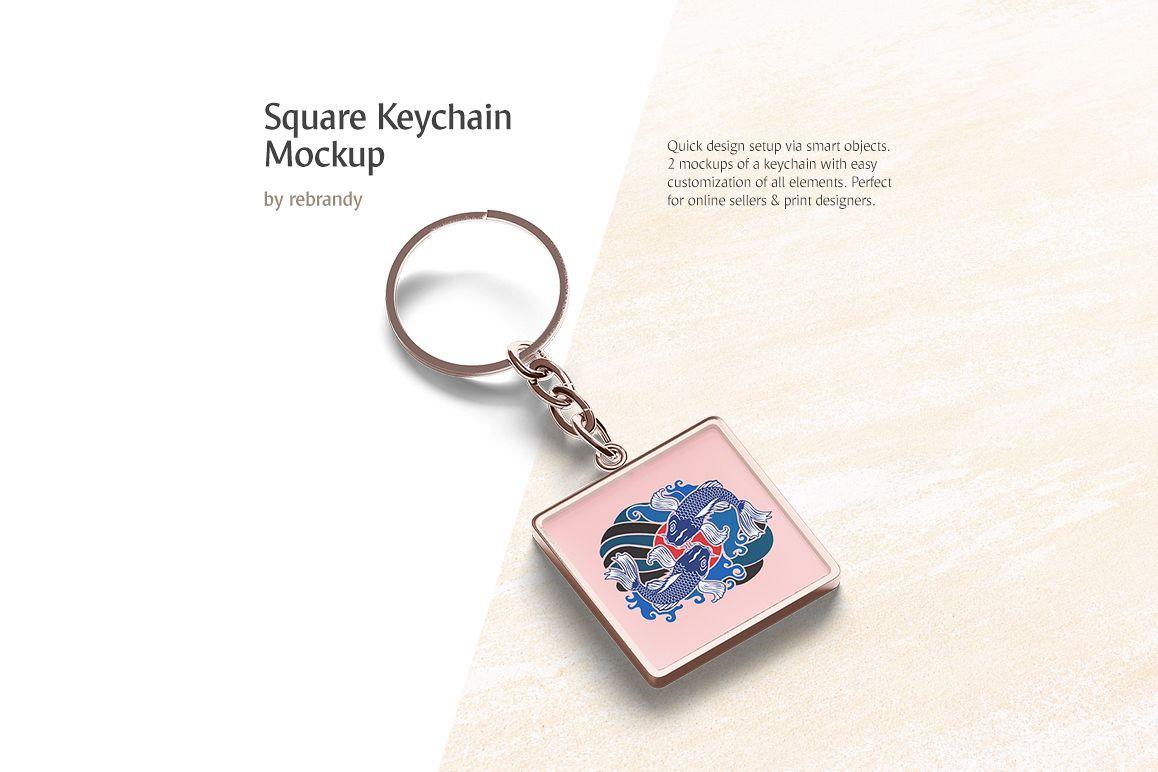 Square Keychain Mockup example image 1