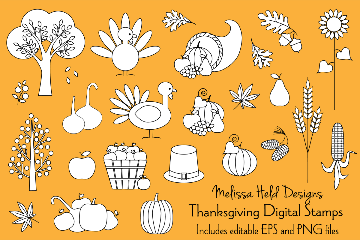 Thanksgiving Digital Stamps Clipart example image 1