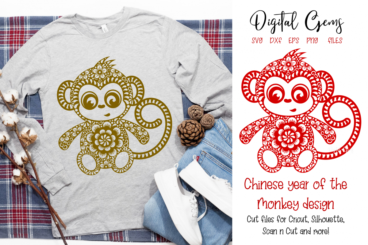 Monkey, Chinese new year SVG / DXF / EPS / PNG files example image 1