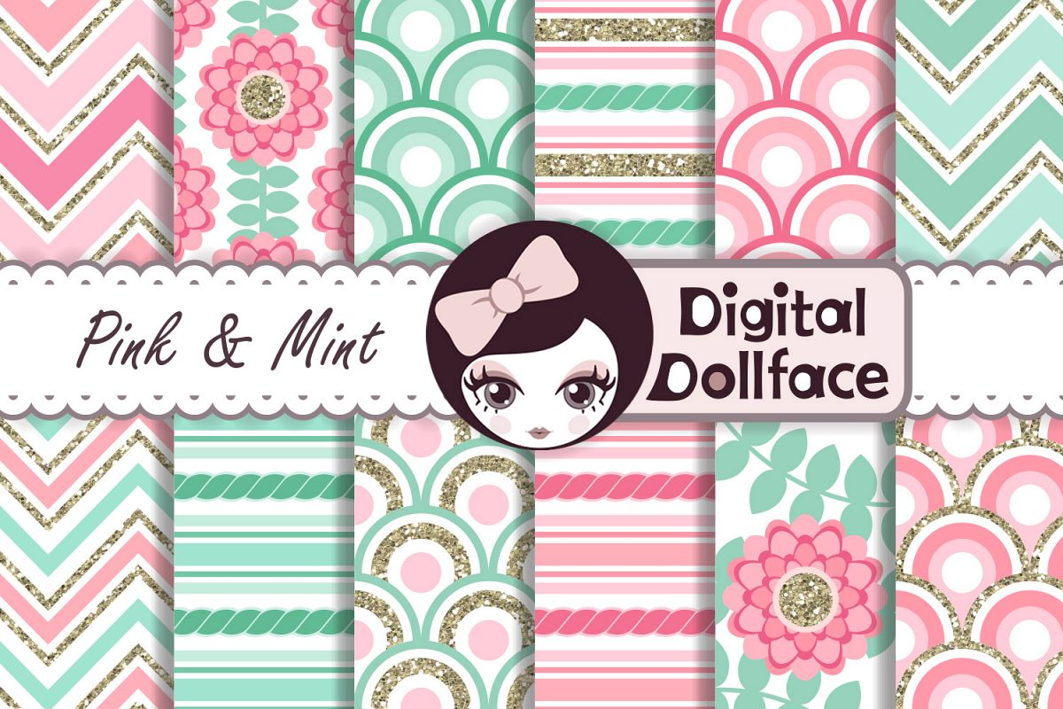 Pink and Mint Patterns example image 1