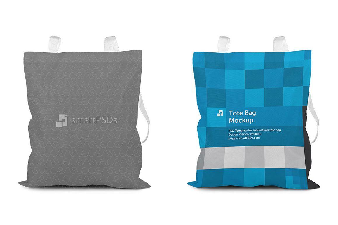 Tote Bag with Shine Mesh Sublimation Design Mockup - 3 Views example image 1
