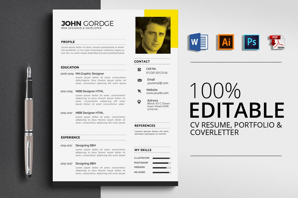 Clean Cv Resume Templates example image 1