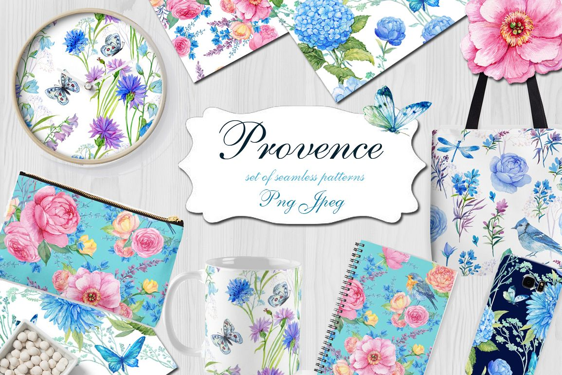 Provence. watercolor patterns example image 1