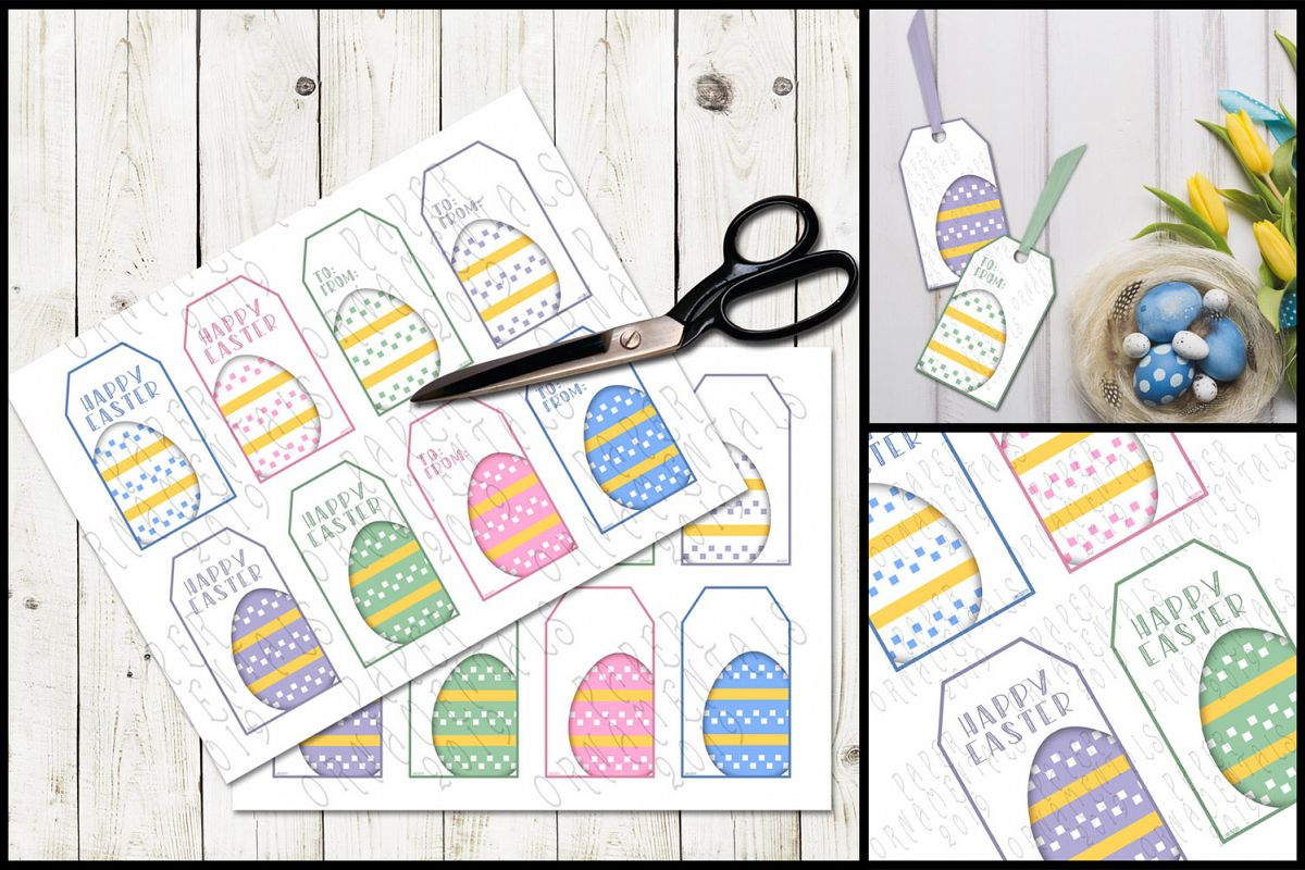 Printable Easter Gift Tags, Pastel Easter Eggs example image 1