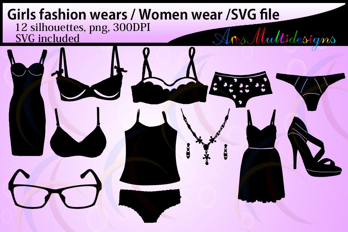 Girls fashion wears silhouette / Women fashion wears / High Quality / Strappy Soft Bullet Bra / Sports Bra / SVG files / png example image 1