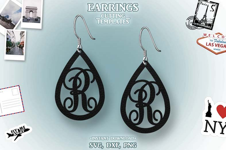 Letter R, Teardrop Monogram Earrings, SVG, Cut File, Cricut example image 1