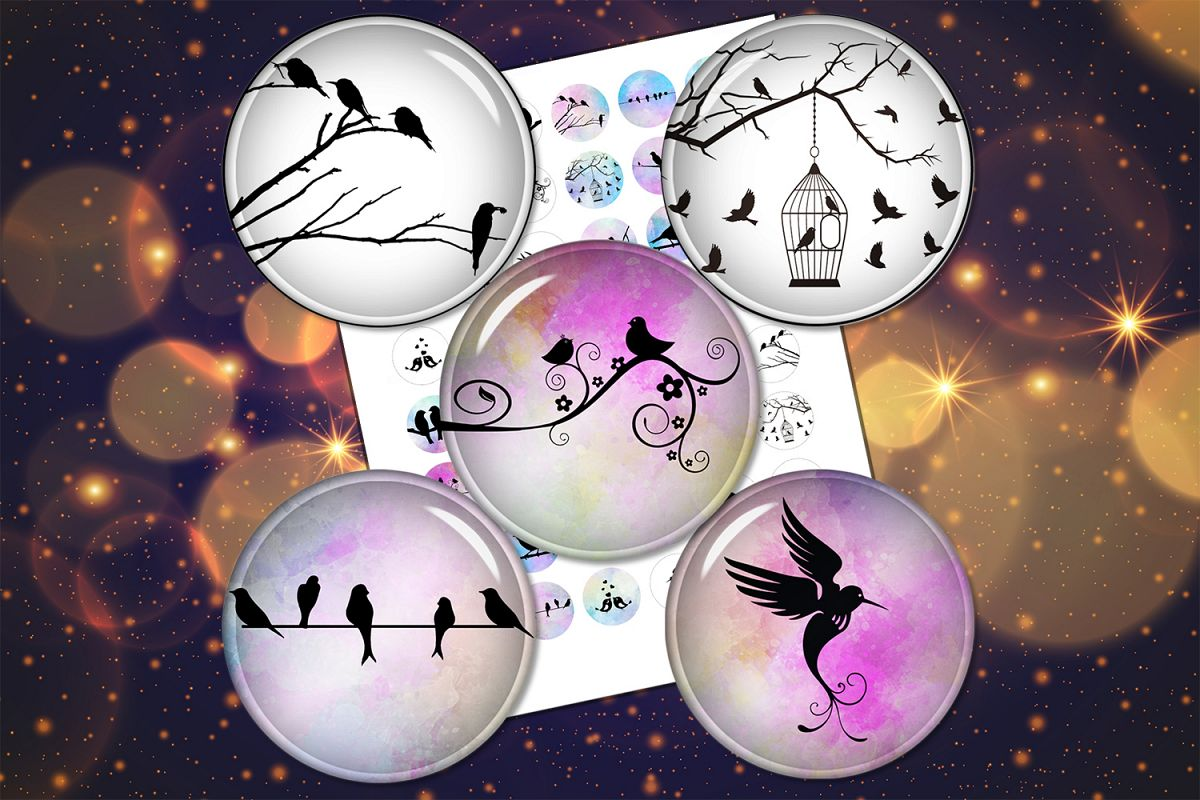 Birds Silhouette,Circle for Earrings,Printable Images example image 1