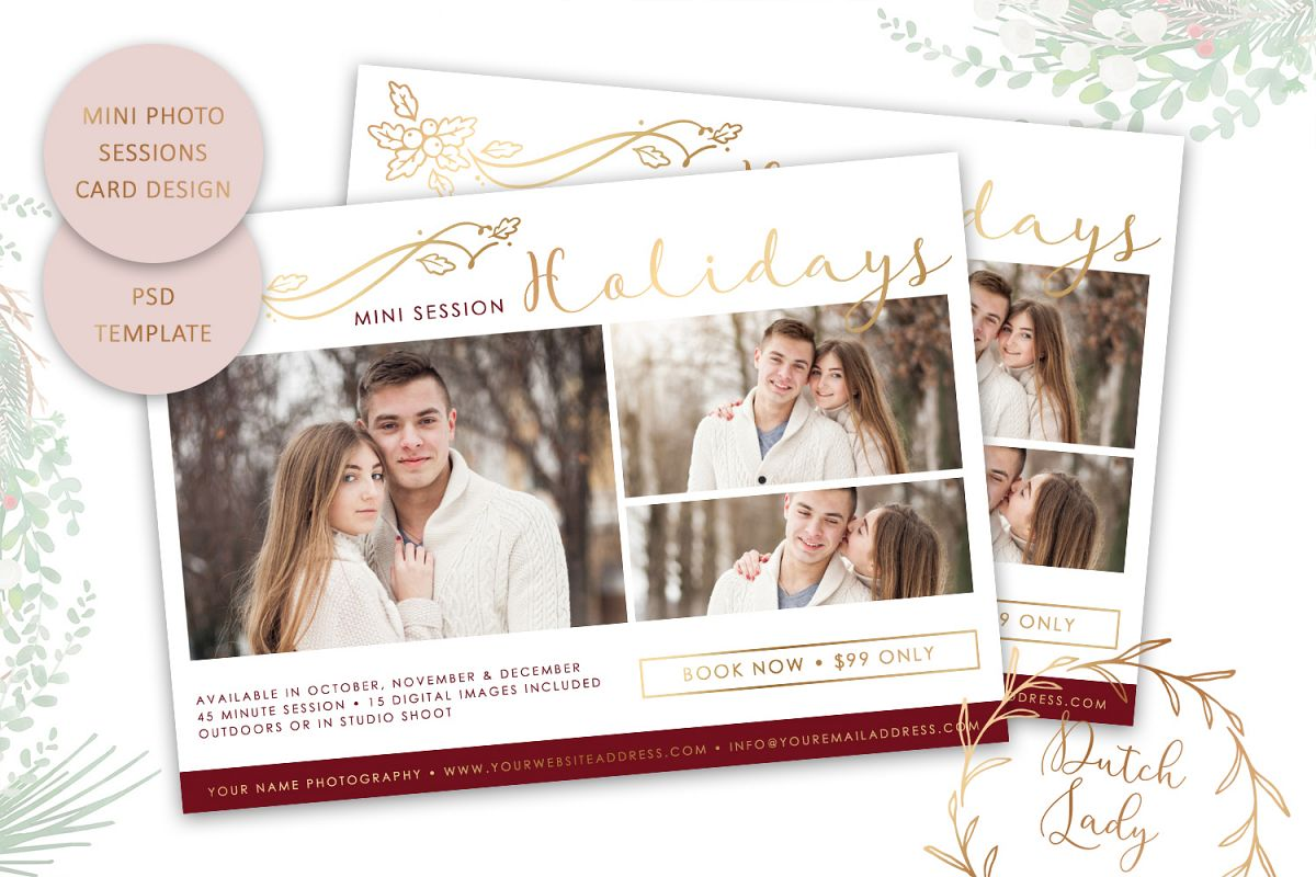 PSD Photo Mini Session Card Template - Design #21 example image 1