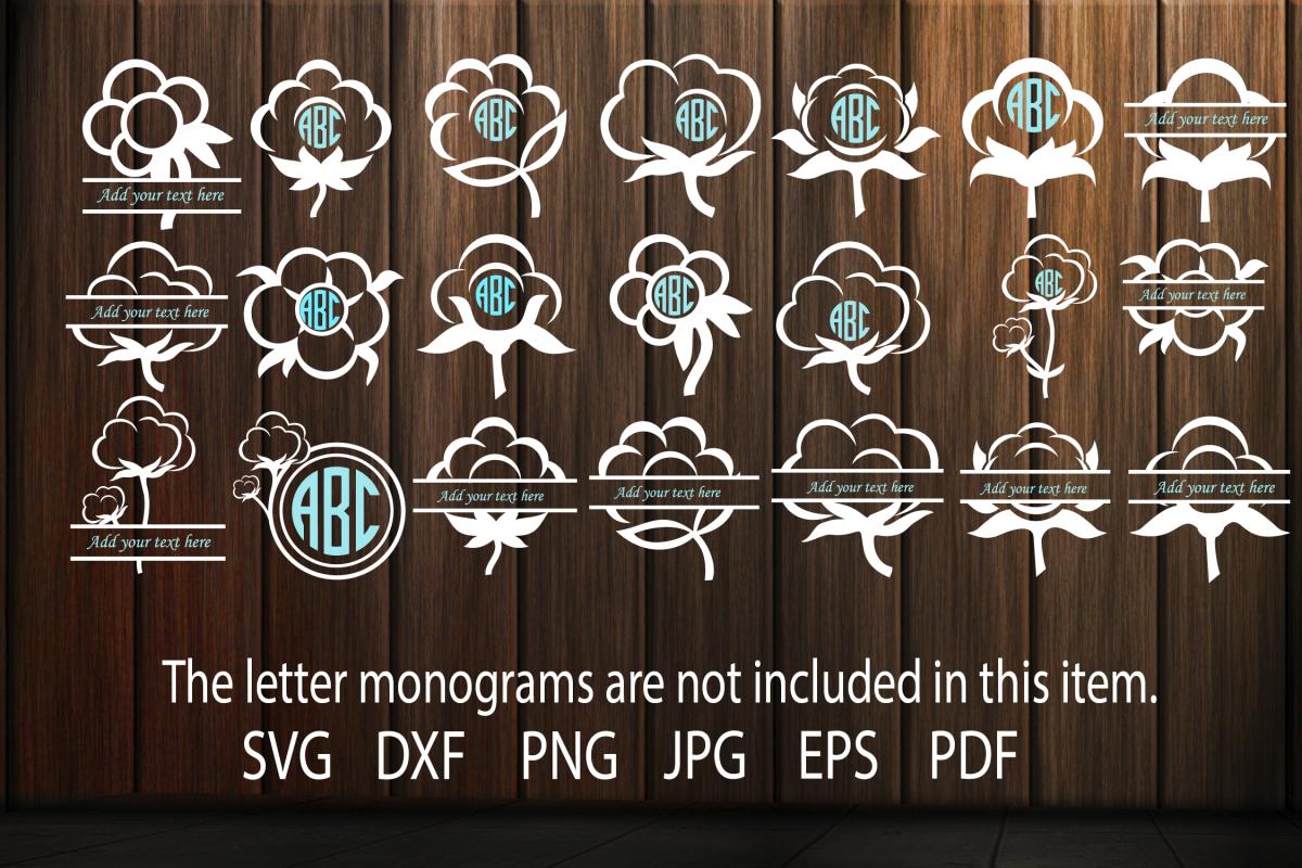 Cotton Boll Monogram Frames SVG, Cotton Flower svg, Cotton example image 1