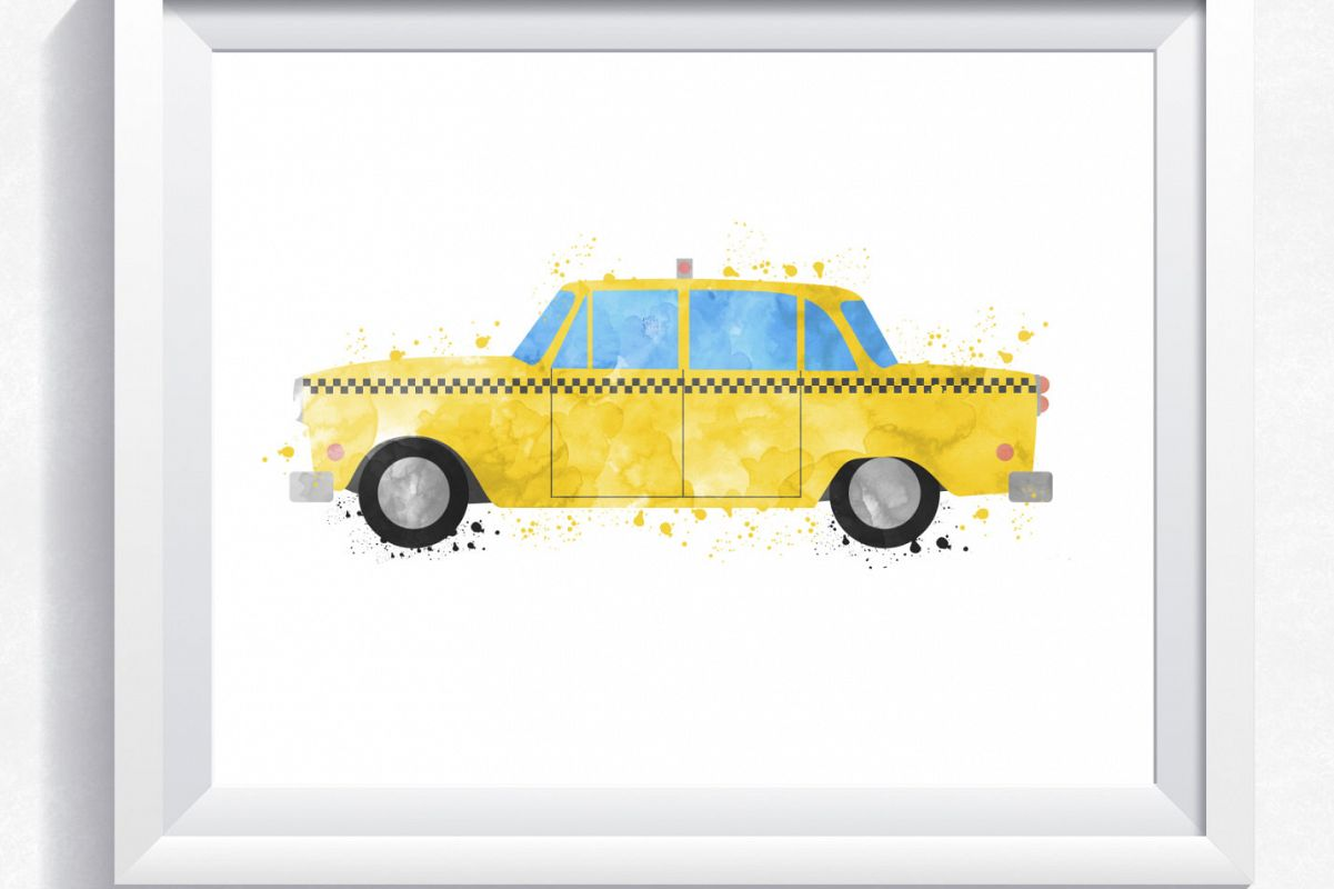 Yellow taxi cab printable, taxi cab wal | Design Bundles