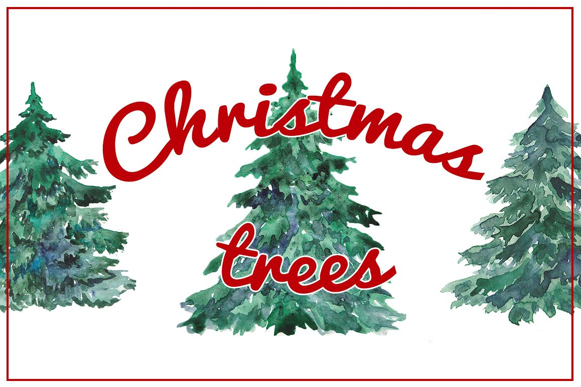watercolor christmas trees example image 1