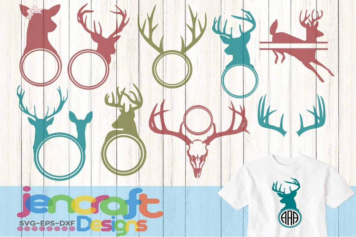 Deer Antler Hunter Monogram Frames Svg, Eps, Dxf, Png