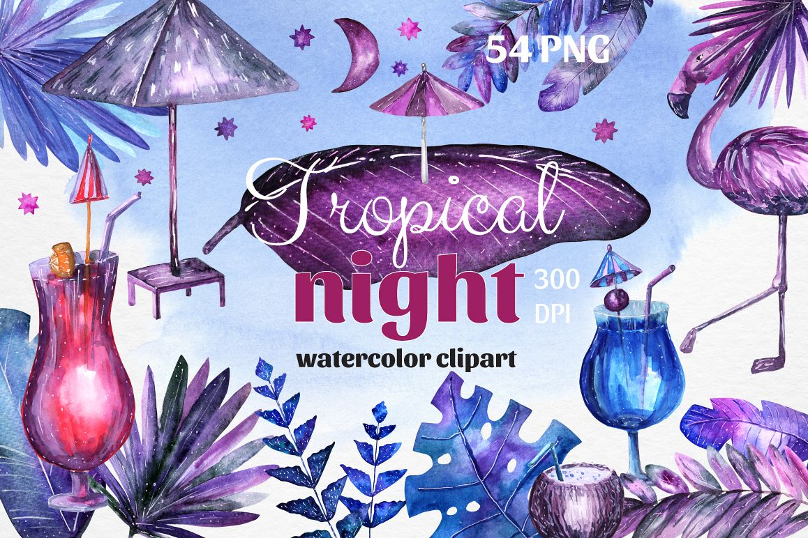 Tropical night - Watercolor example image 1