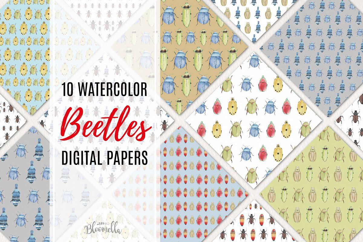 Beetle Watercolor Digital Papers example image 1