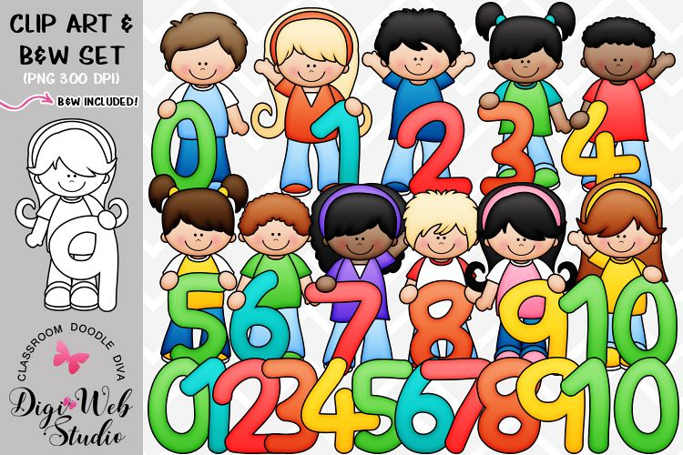 Clip Art / Illustrations - Math Numbers Kids example image 1