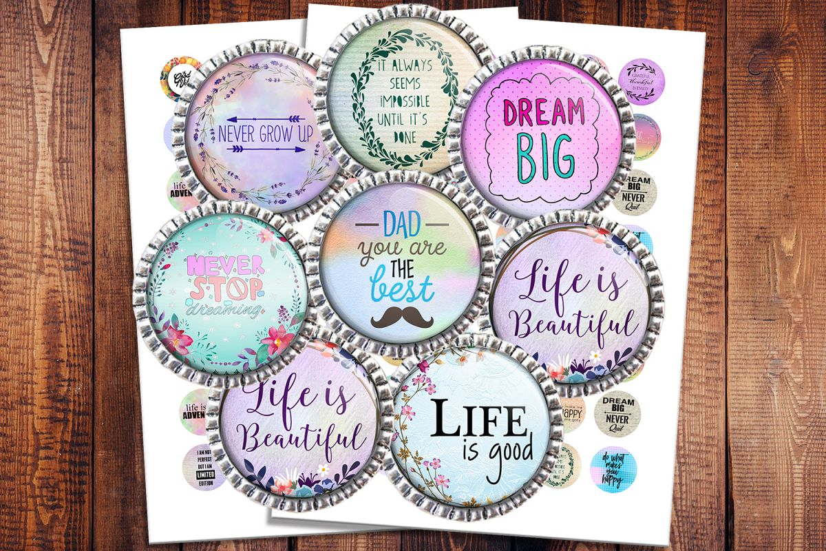 Inspirational Quotes, Jewelry making, Digital Collage Sheet