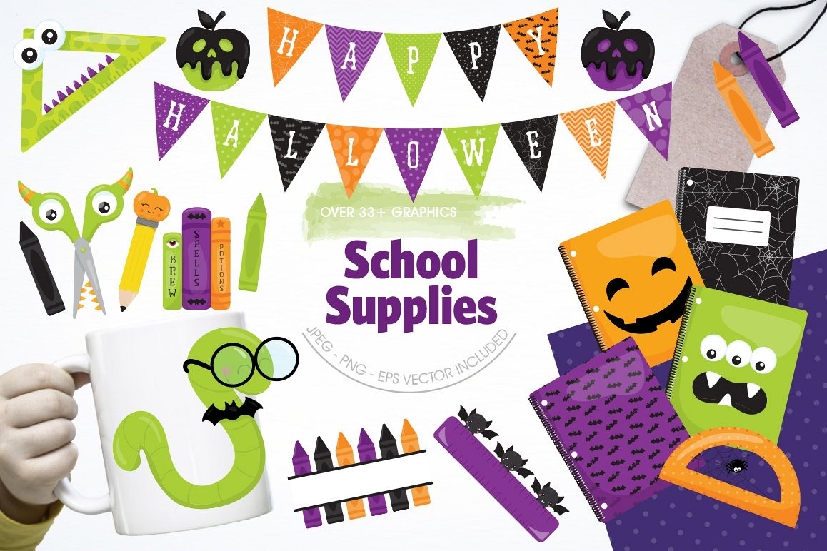 School Supplies graphic and illustrations example image 1