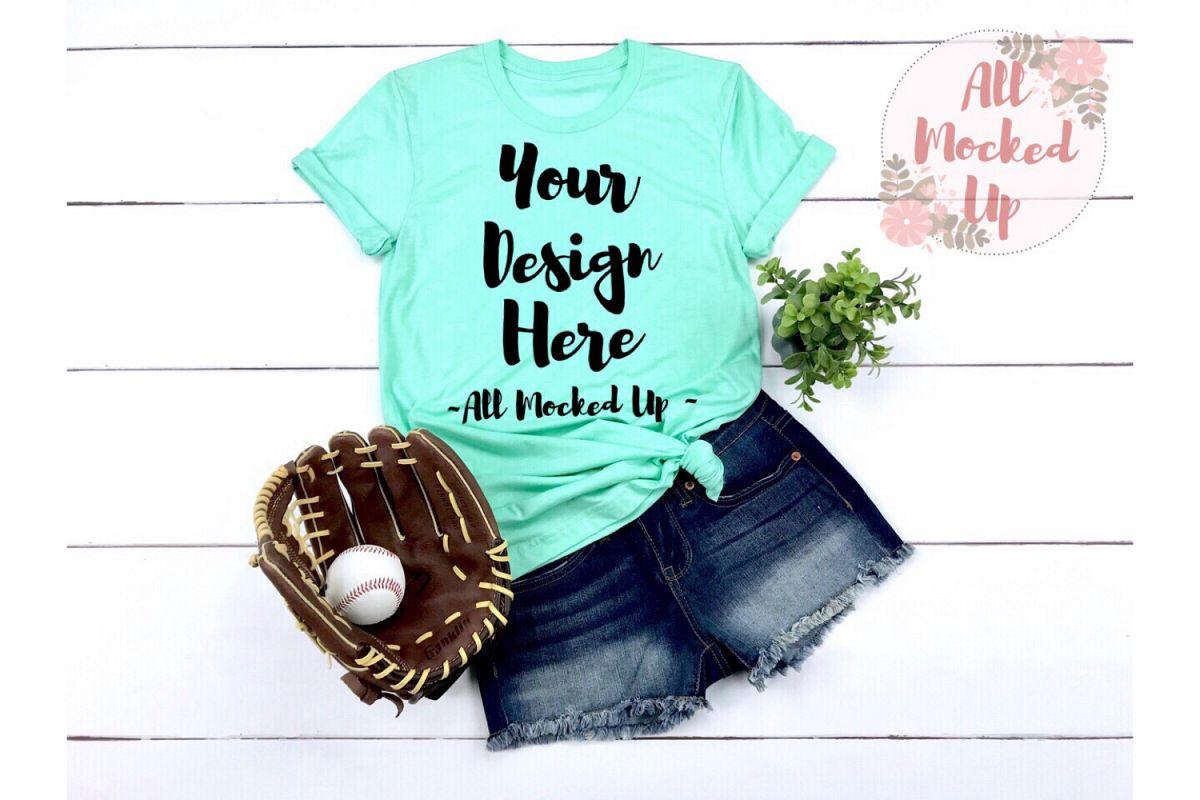 Bella Canvas 3001 / 3413 MINT Baseball Shirt Mock Up - 3/19 example image 1