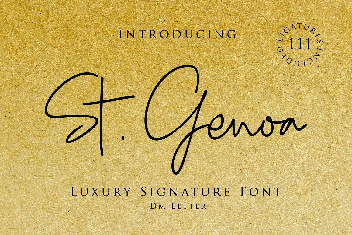 St. Genoa - Luxury Signature Font example image 1