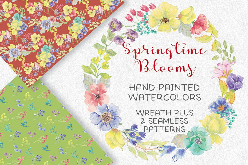 Watercolor wreath of bright spring flowers example image 1