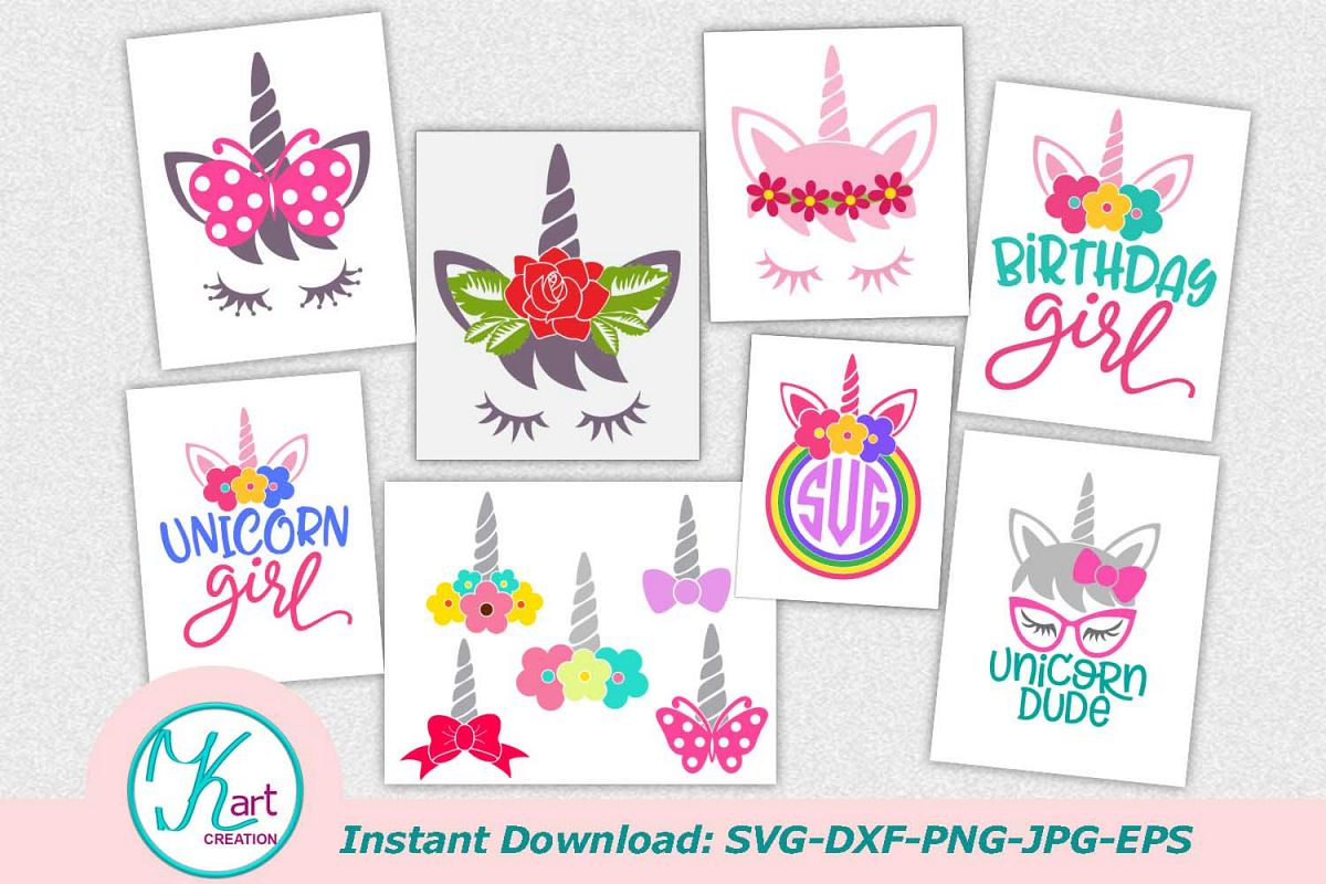 Unicorn face horn girl bundle svg dxf cutting files clipart example image 1