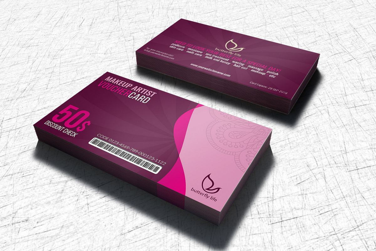 Beauty Center Gift Voucher Card Template example image 1