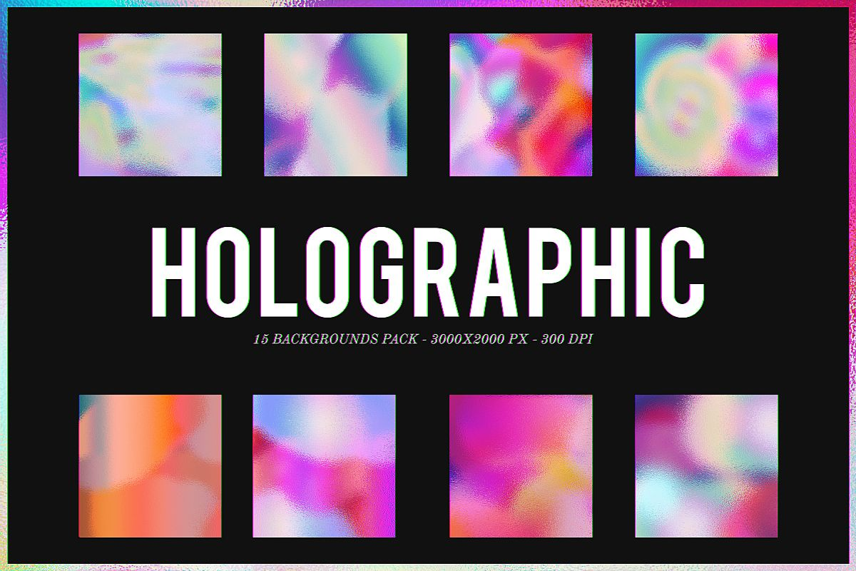 Holographic - 15 Backgrounds Pack example image 1