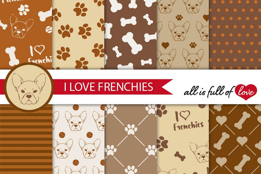 I Love Frenchies Digital Paper French Bulldog Background Patterns in Brown example image 1