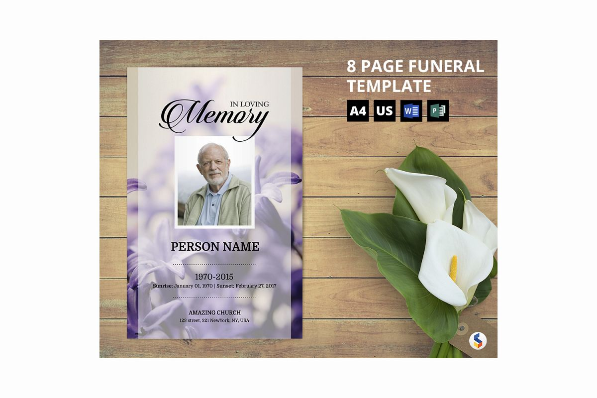 Levendar Funeral Program Template example image 1