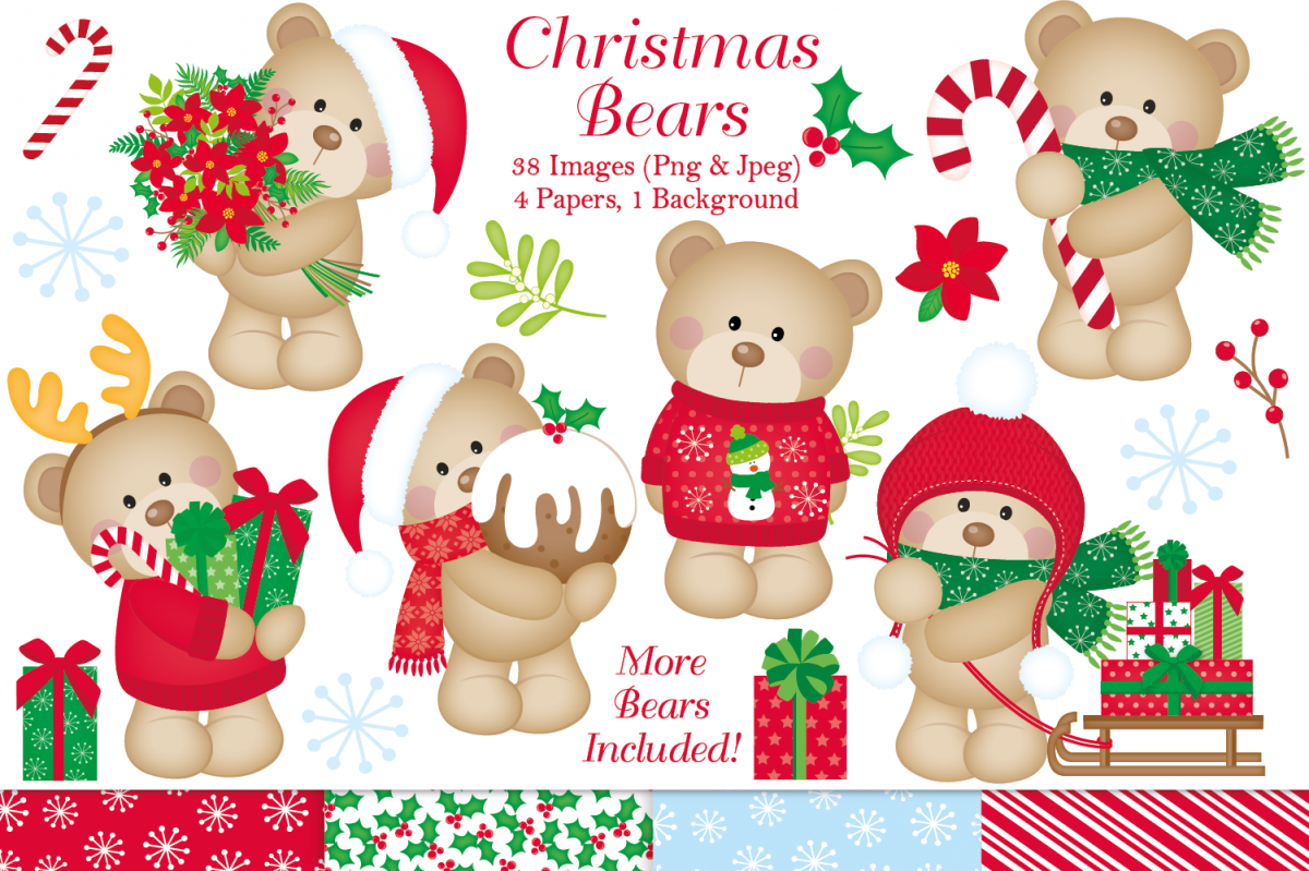 Christmas clipart, Christmas Bear graphics & illustrations example image 1