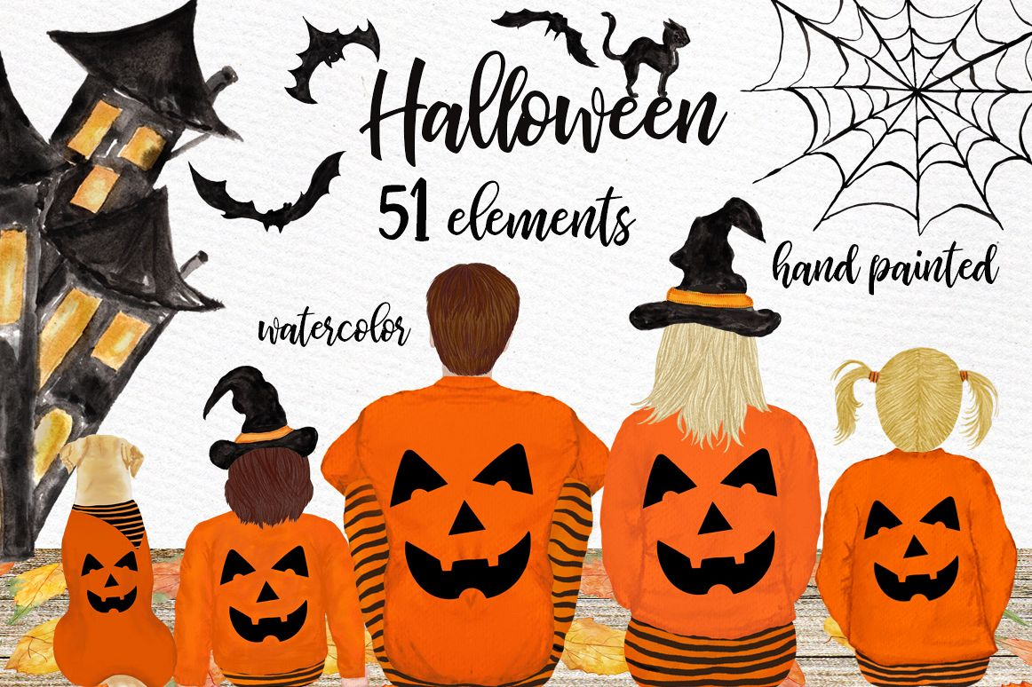 Halloween clipart, Family Clipart, Thanksgiving clipart example image 1