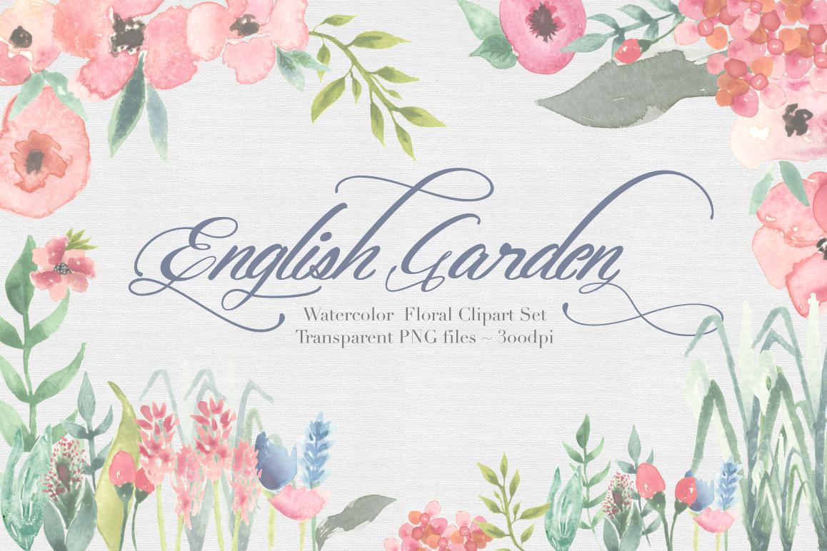 English Garden Watercolor clipart example image 1