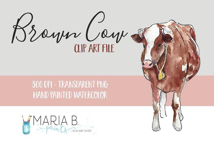Brown Farm Cow Watercolor Clip Art Png