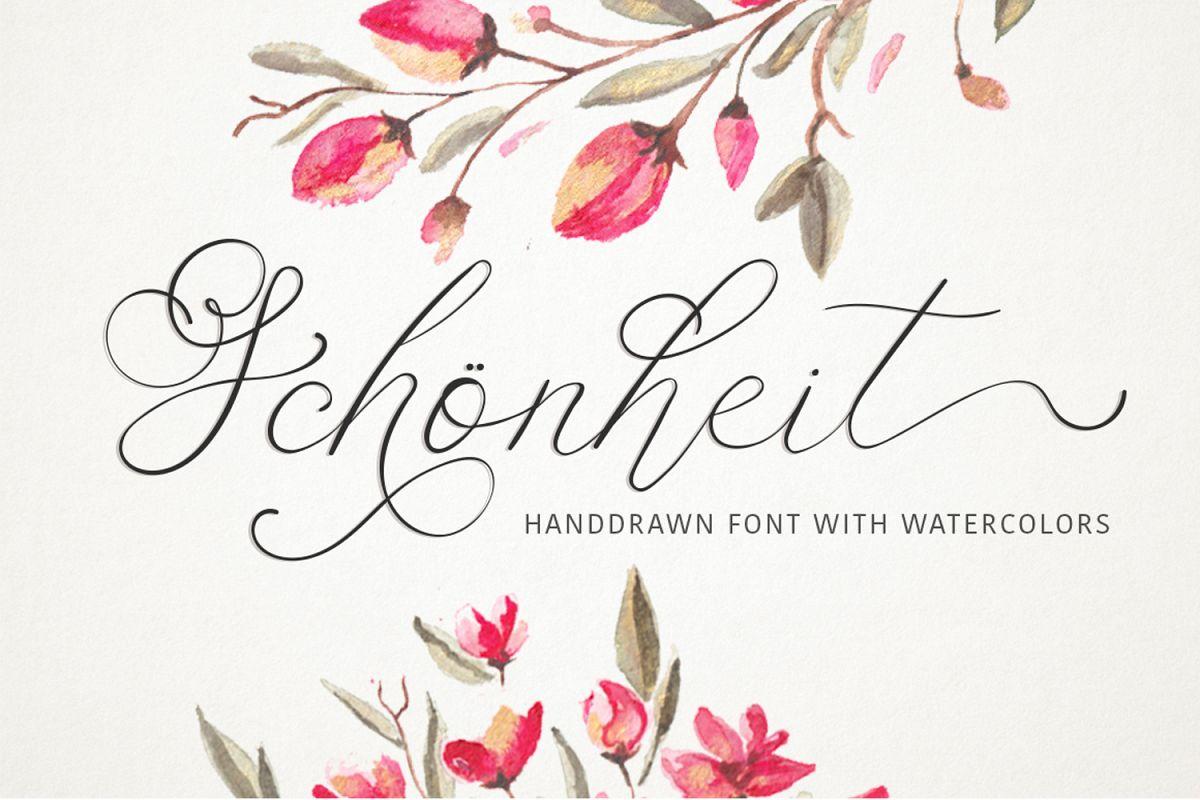 Schonheit font & watercolors. example image 1