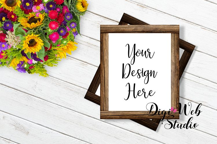 Wood Sign Mockup - Flay Lay Stacked Wood Frames w/ Flowers example image 1