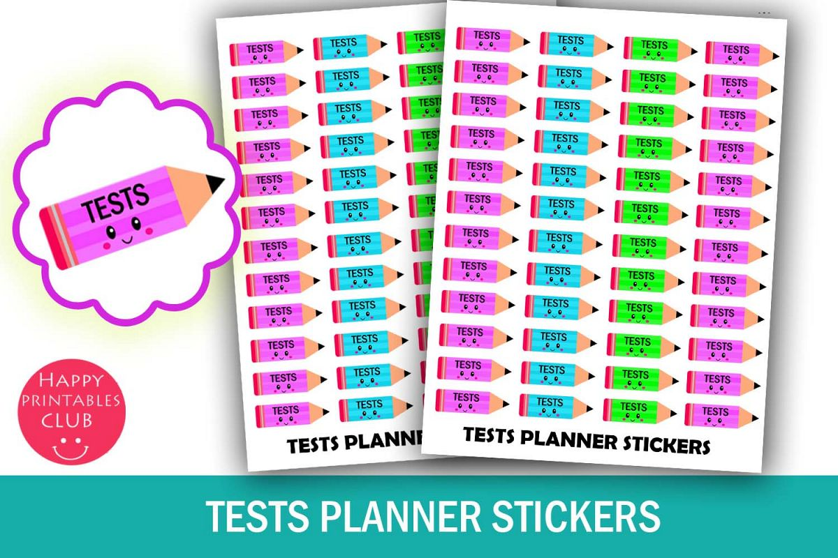 School Tests Planner Stickers- Cute Kawaii Tests Stickers example image 1
