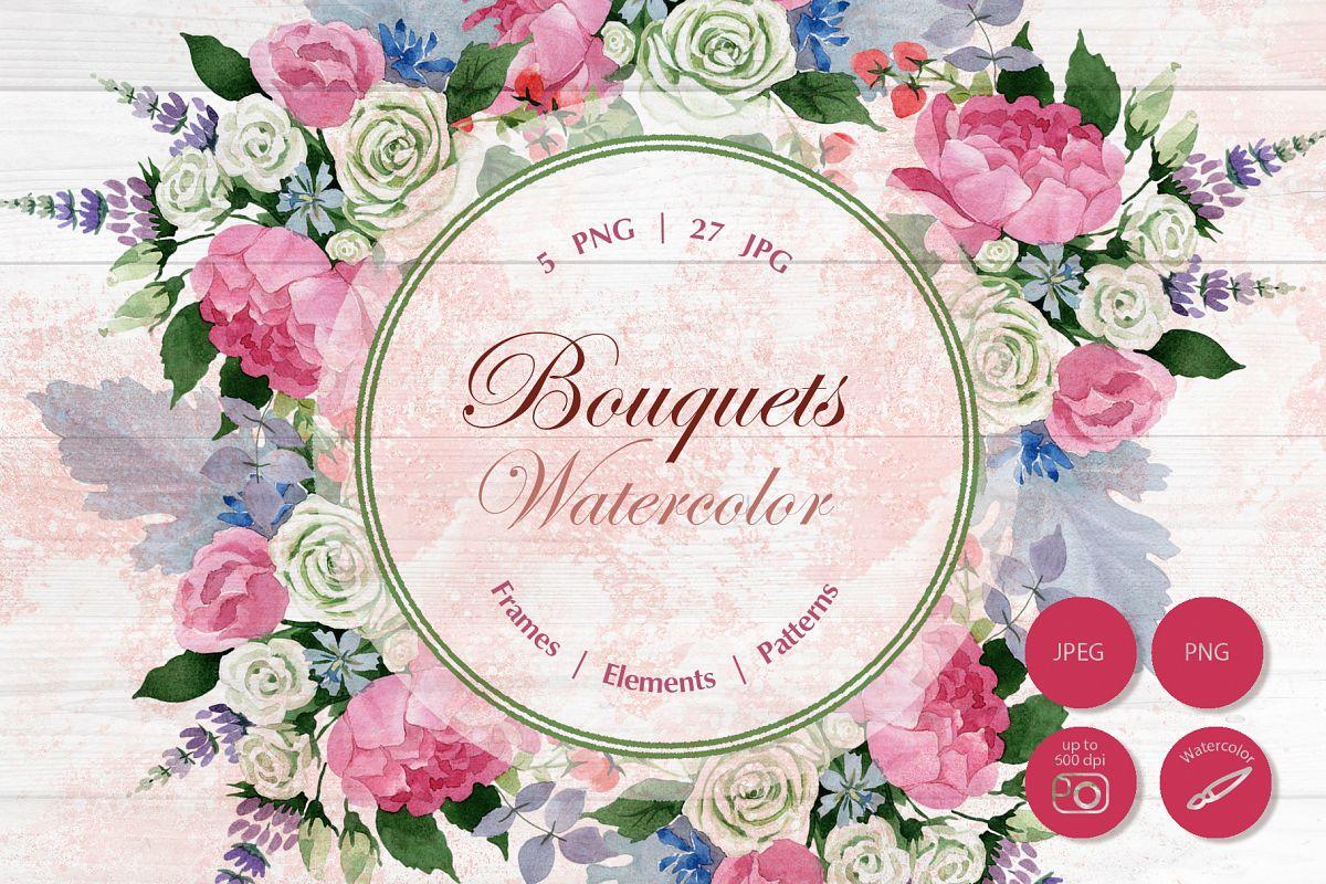 wedding watercolor bouquets png set by design bundles