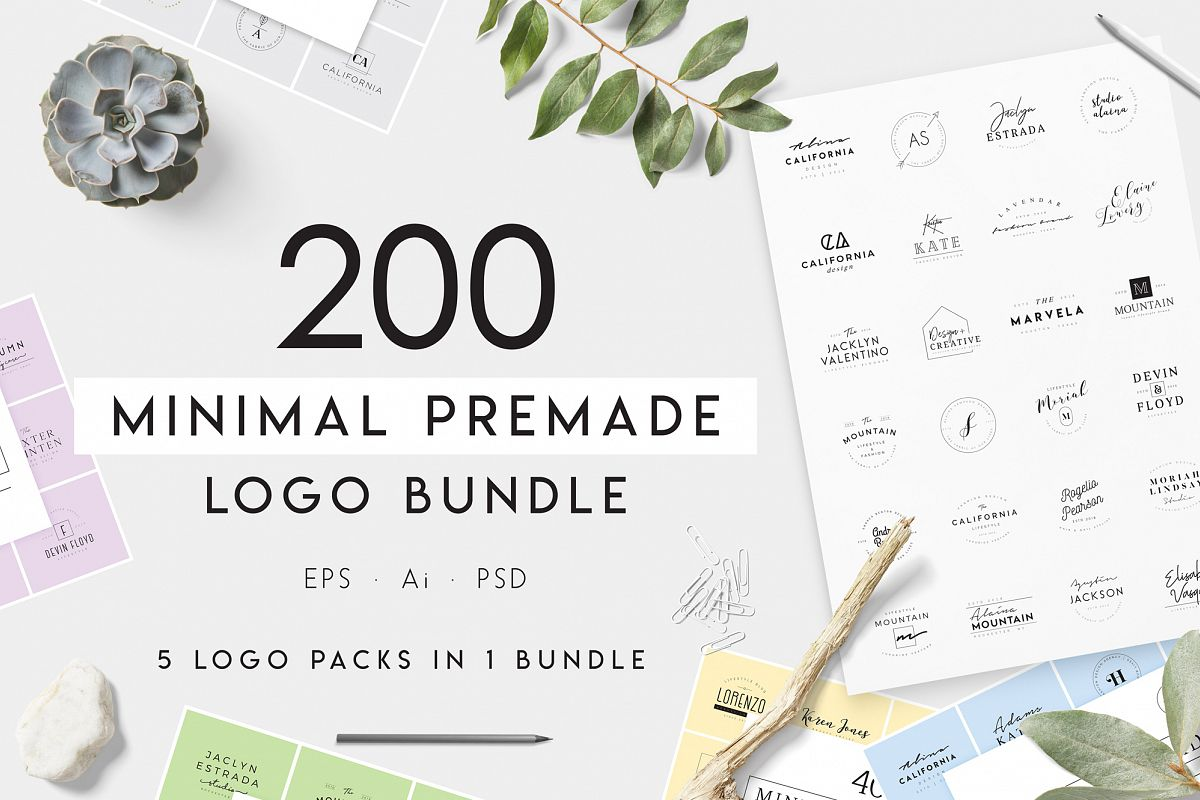 200 Minimal Premade Logo Bundle example image 1