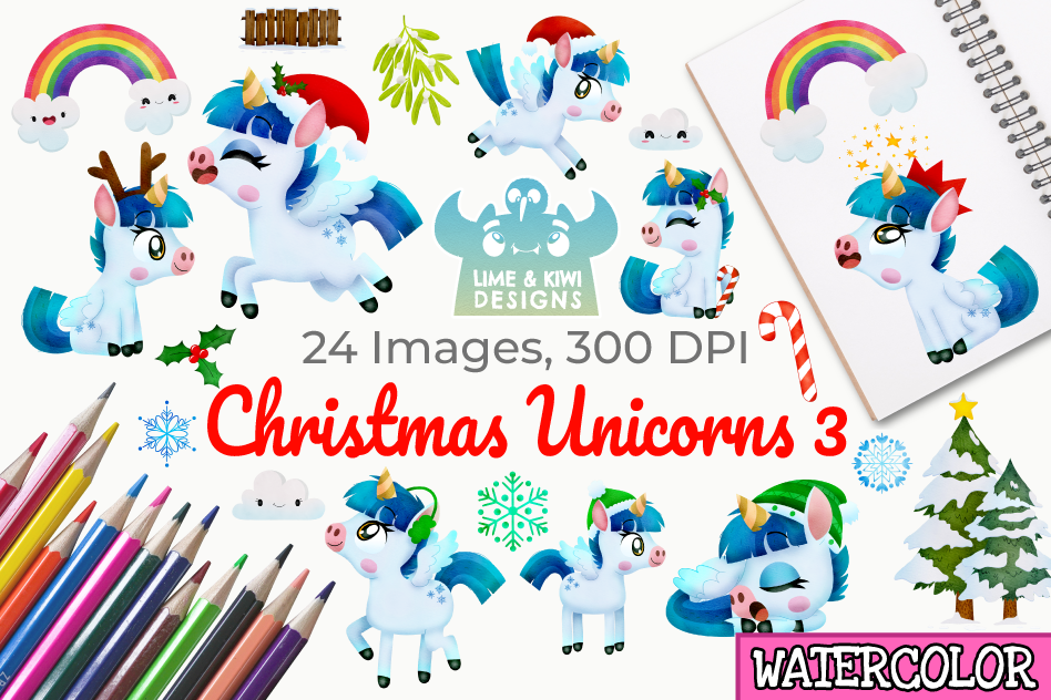 Christmas Unicorns 3 Watercolor Clipart, Instant Download example image 1