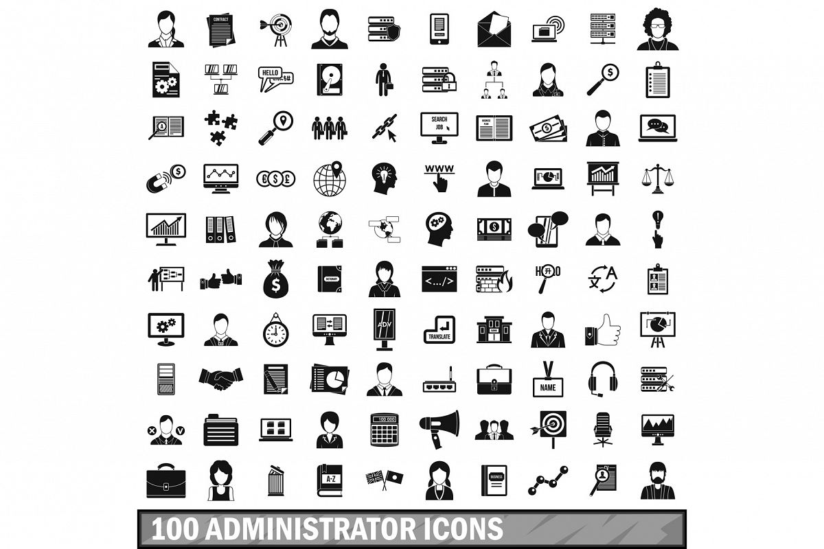100 administrator icons set, simple style example image 1