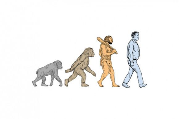 Human Evolution Walking Drawing example image 1