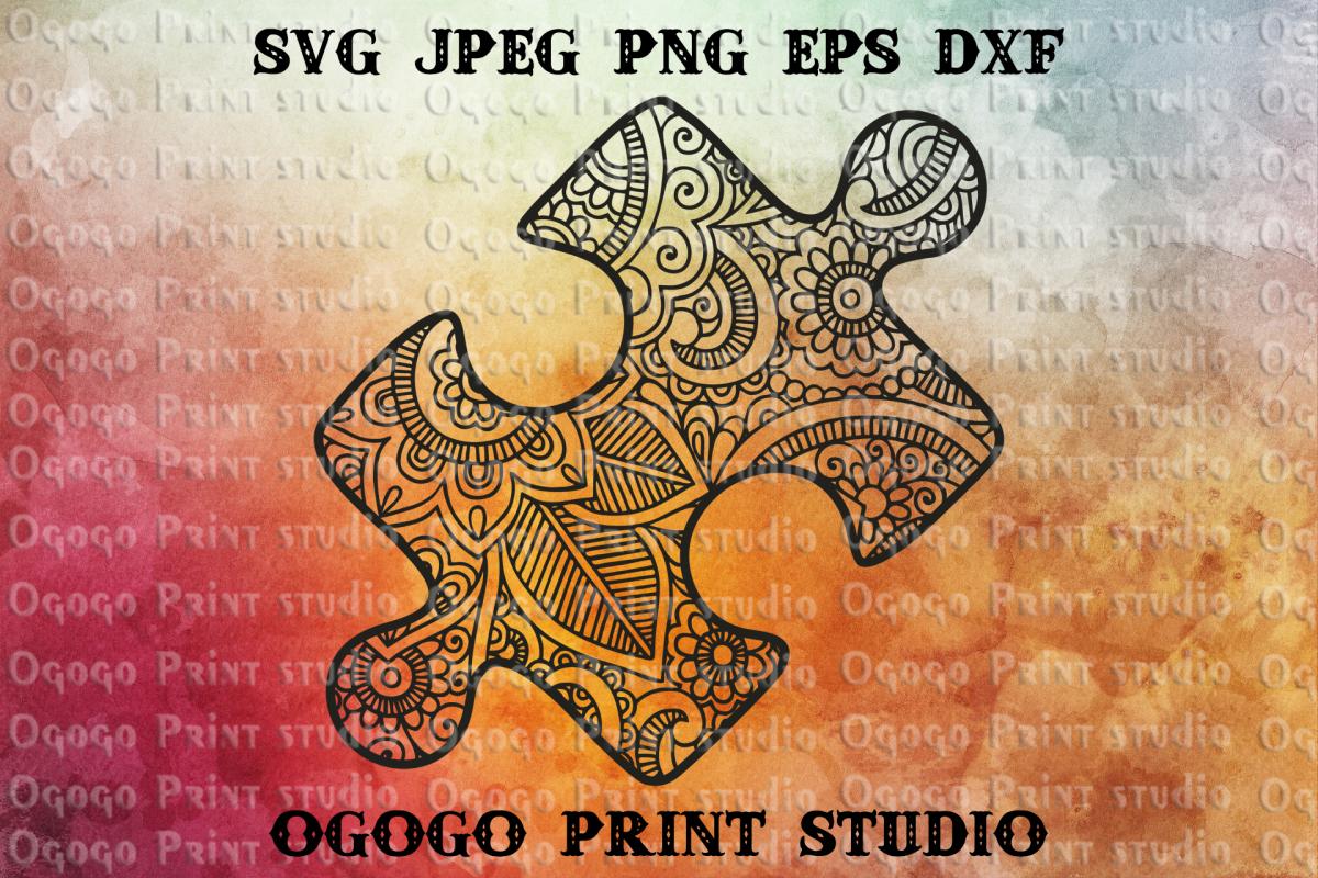 Puzzle Svg, Zentangle SVG, Autism Awareness svg, Mandala svg example image 1